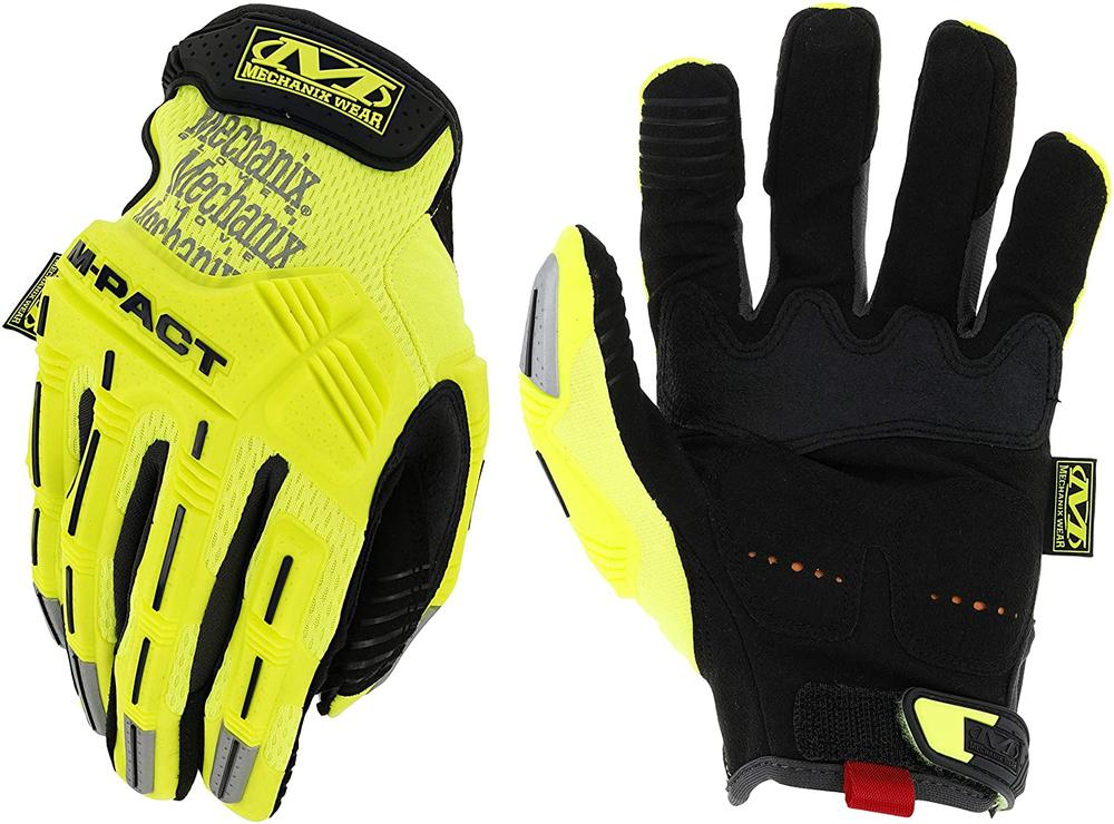 Mechanix Hi-Viz M-Pact Work Gloves Impact Protection High Visibility Yellow
