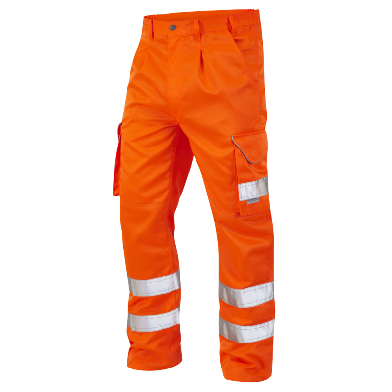 Leo Workwear CT01 Bideford Hi Vis Cargo Trousers Orange