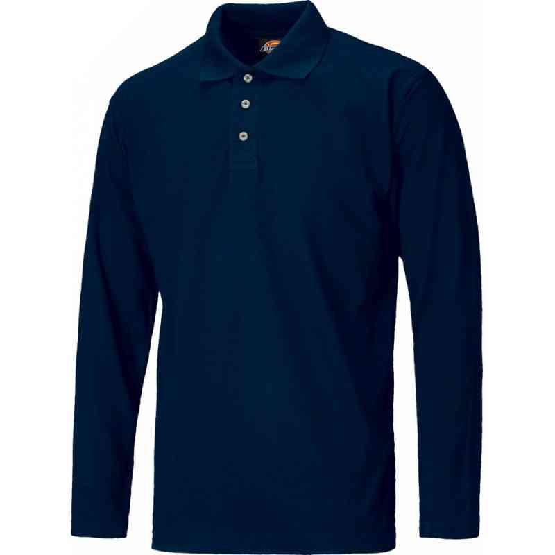 Dickies SH21100 Men Polo Shirt Polycotton Long Sleeve Navy Size S