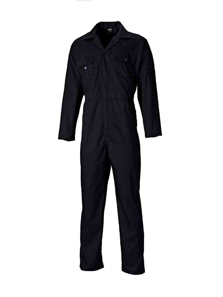 Dickies Redhawk WD4819 Work Coverall Front Studs Polycotton Overall Black