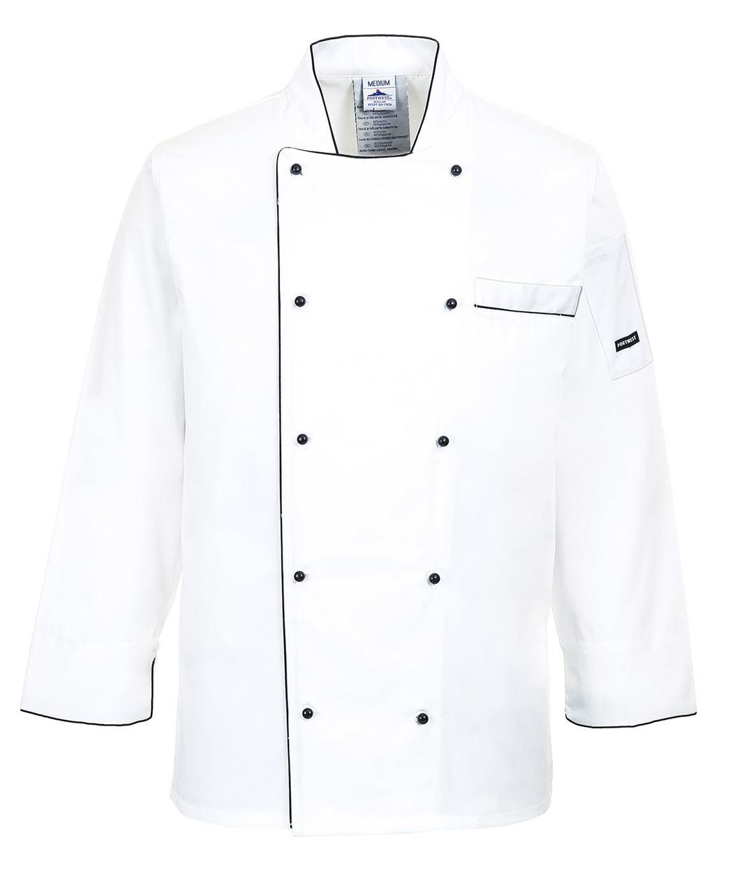 Portwest C776 Executive Chef Jacket White Black Trim