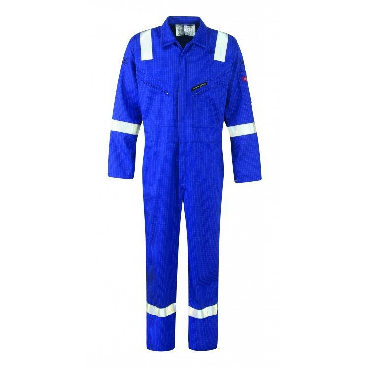 Dickies WD5075 Firechief FR Coverall HI Vis Pyrovatex Royal Blue Size 42