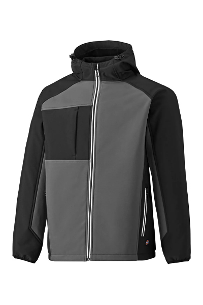 Dickies JW7023 Two Tone Hooded Softshell Jacket Black & Grey Size L