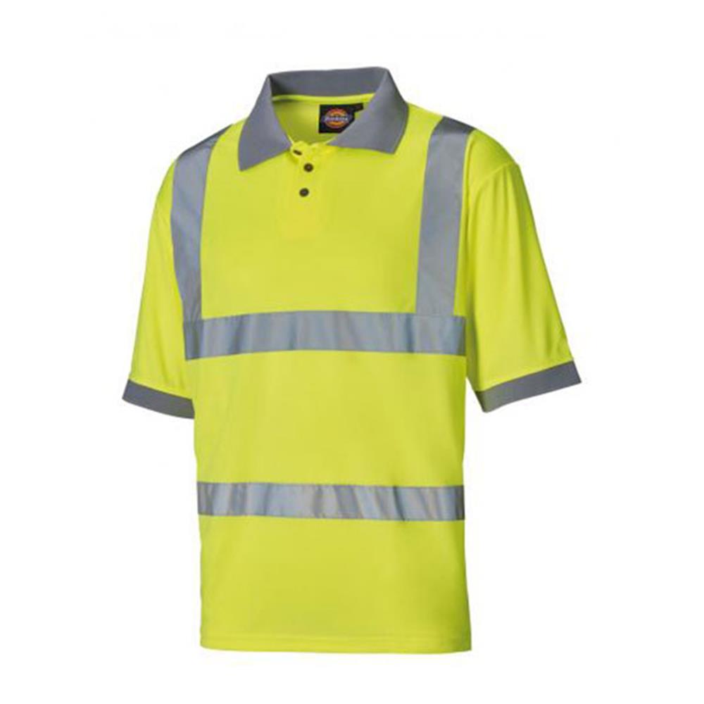 Dickies SA22075 Men Polo Shirt High Visibility Yellow Size Large