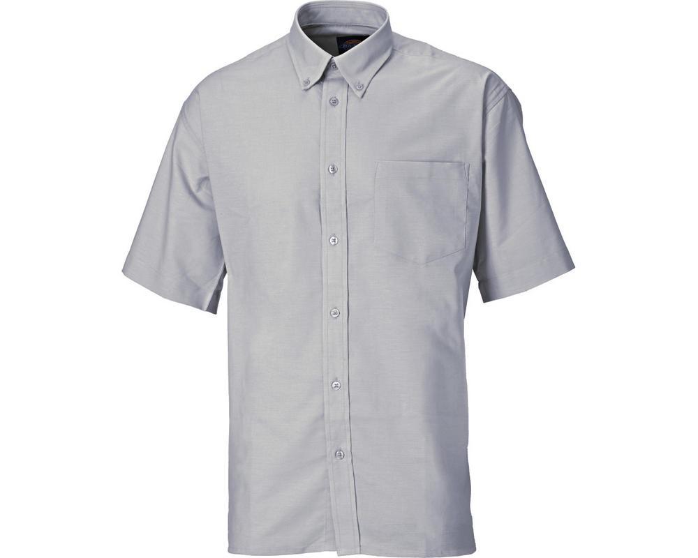"Dickies SH64250 Men's Shirt Oxford Weave Short Sleeve Grey, Collar Size 15.5"""
