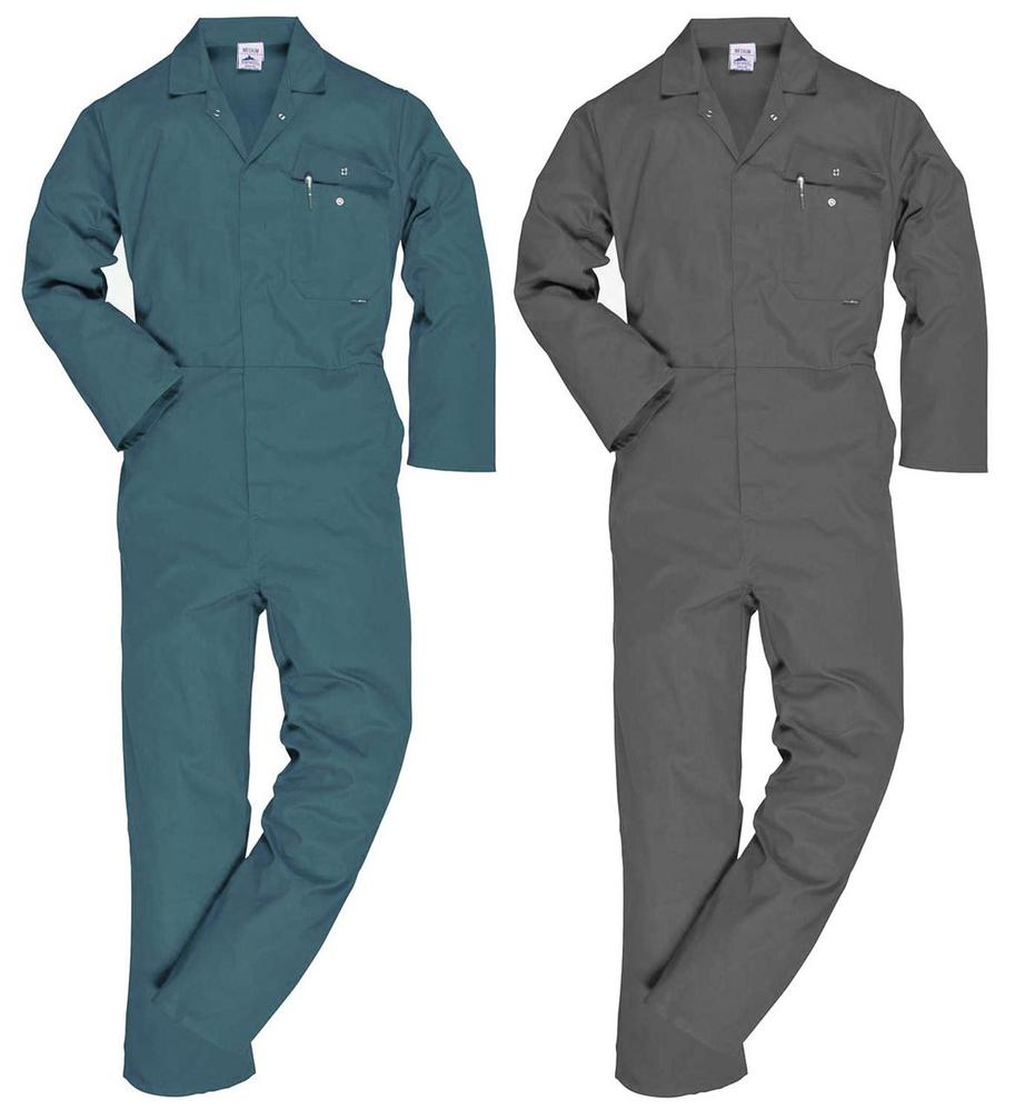 Portwest Classic Standard Polycotton Boilersuit Coverall C802 Green - Grey