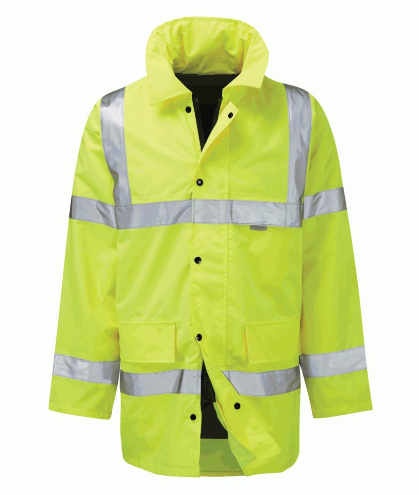 MM Reflective Men Waterproof Jacket Quilted Hi Vis Yellow Size M