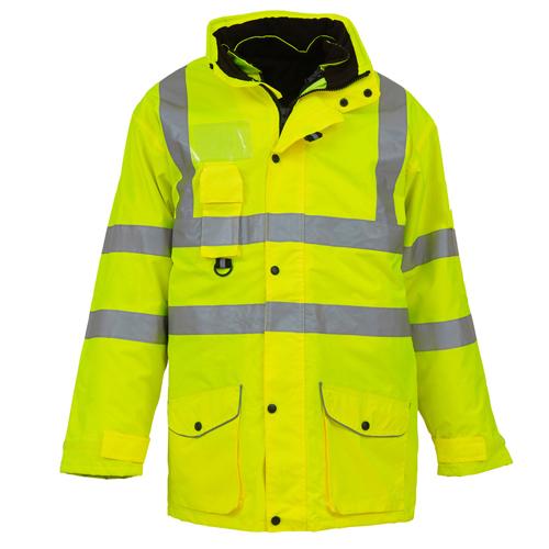 Dickies SA22028 5 in 1 Rain Work Jacket Hi Vis Yellow Size XL