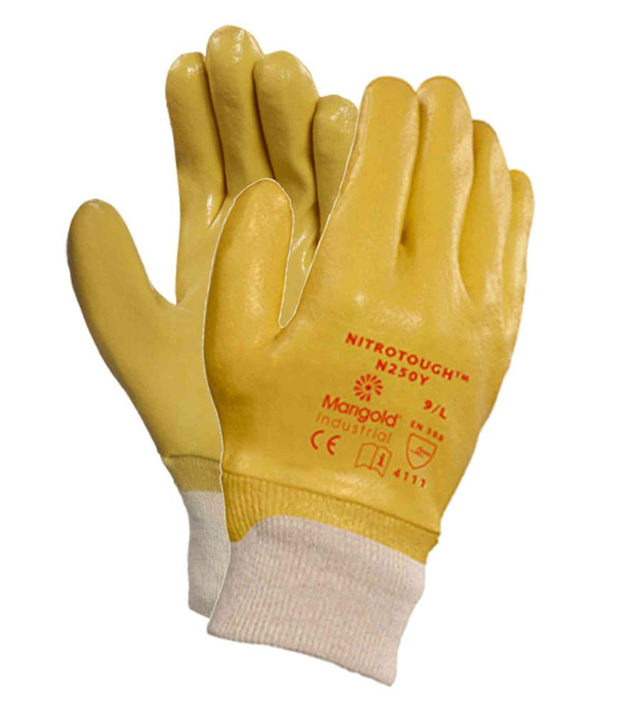 Ansell Nitrotough? N250Y Work Gloves Full Hand Nitrile Coated Size L Yellow
