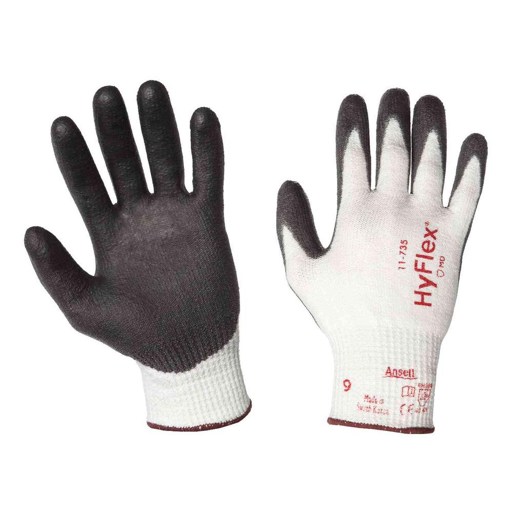 Ansell HyFlex 11-735 Safety Gloves PU Coating Level 5 Cut Resistant