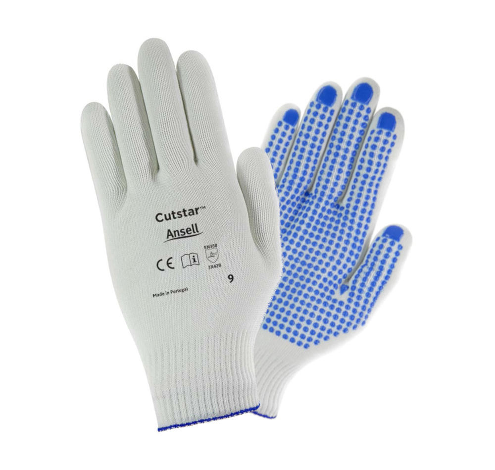 Ansell Cutstar Knitted Cut 4 Resistant Gloves PVC Dots Size 8 Pack of 12