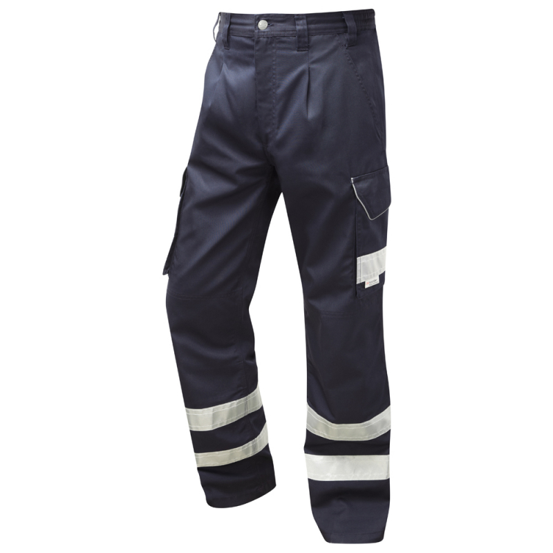 Leo Workwear CT02 Ifracombe Men Cargo Trousers PolyCotton Navy