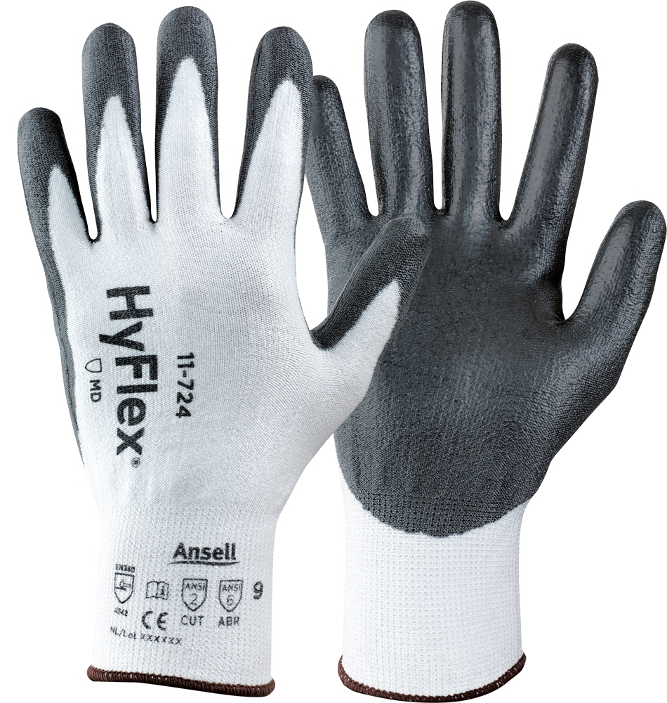 Ansell HyFlex® 11-724 Safety Gloves PU Coating Level 3 Cut Resistant Size 9