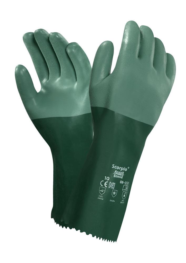 Ansell Scorpio 08-352 Neoprene Coating on Interlock Knit Liner Wet Grip Gauntlet, Size  8