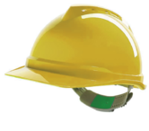 MSA V-Gard 500 Non-Vented Reduced Peak Safety Helmet with Staz-On Harness Yellow