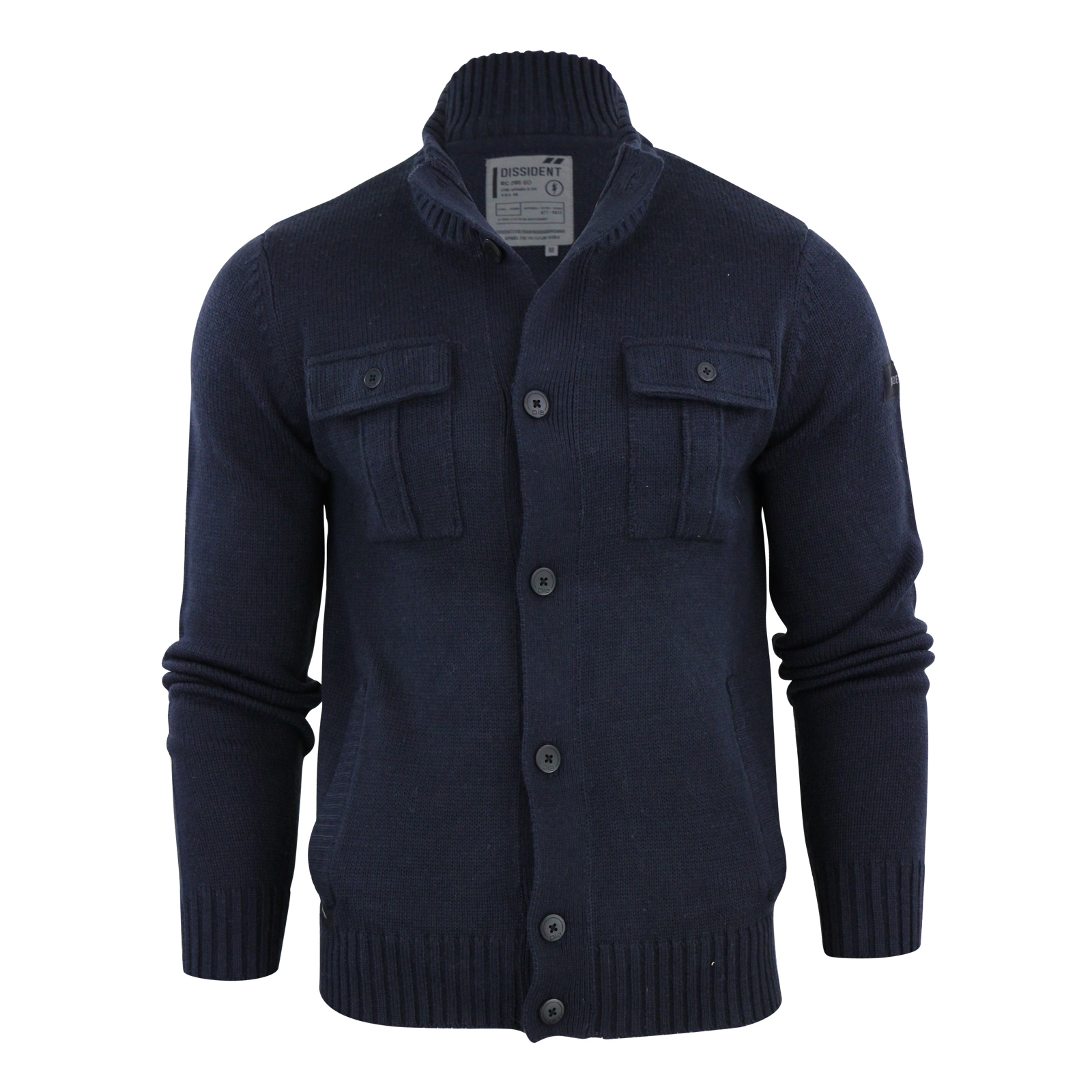 Mens Cardigan Jumber Dissident Parkhouse Wool Mix Button up Funnel ...