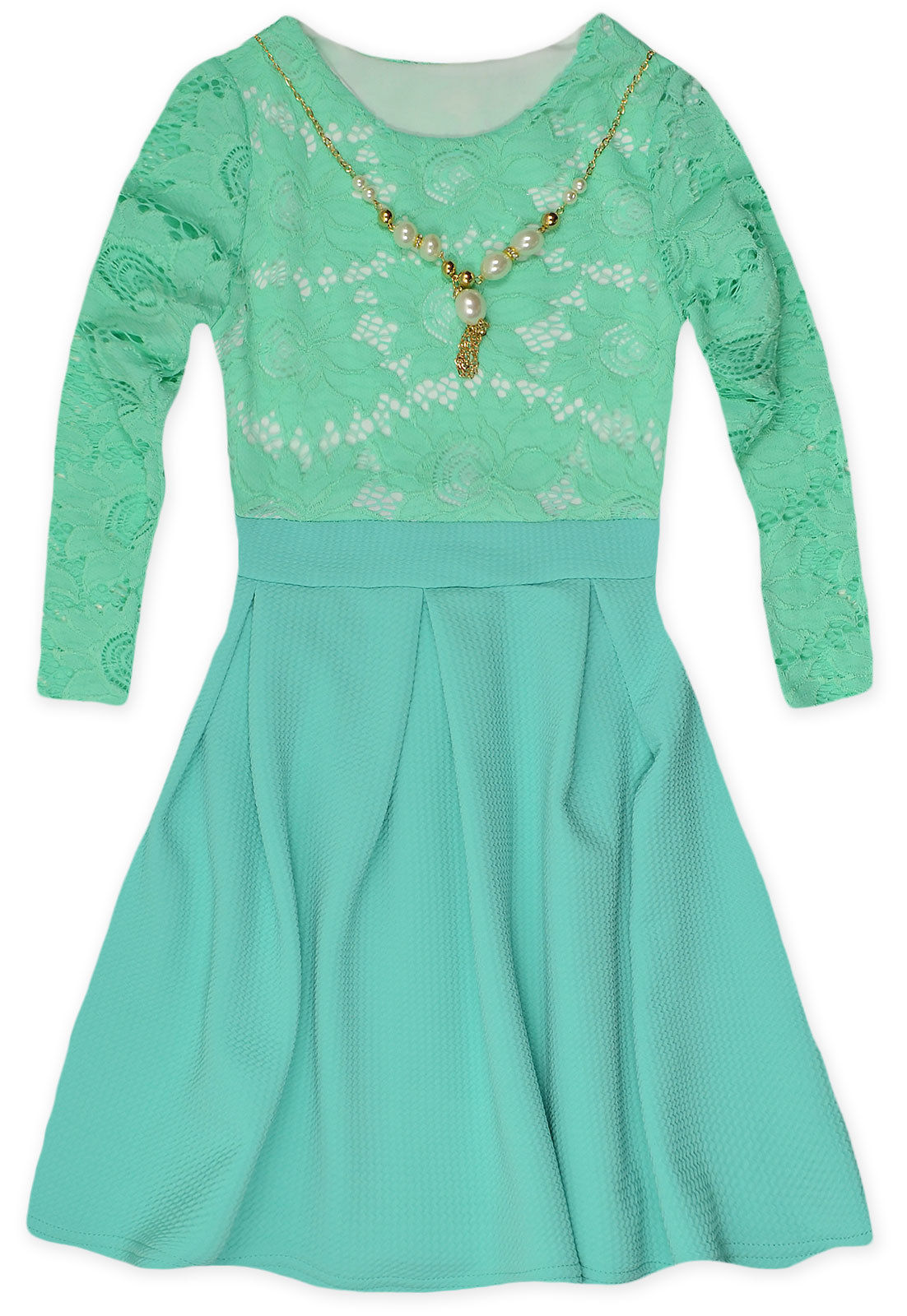 Girls Long Sleeved Lace Top Waffle Skirt Dress New Kids Party ...