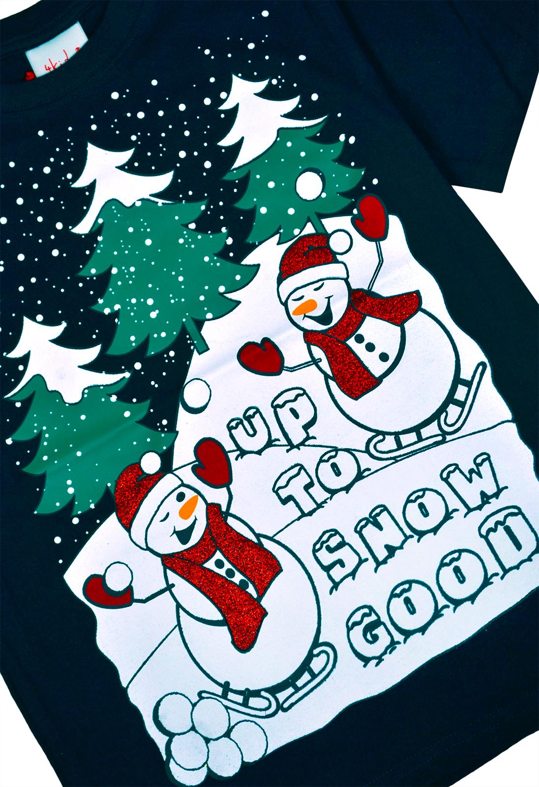 Filles-Garcons-Noel-t-shirts-enfants-Noel-Top-Rouge-Bleu-Marine-Age-7-8-9-10-11-12-13-ans miniature 5