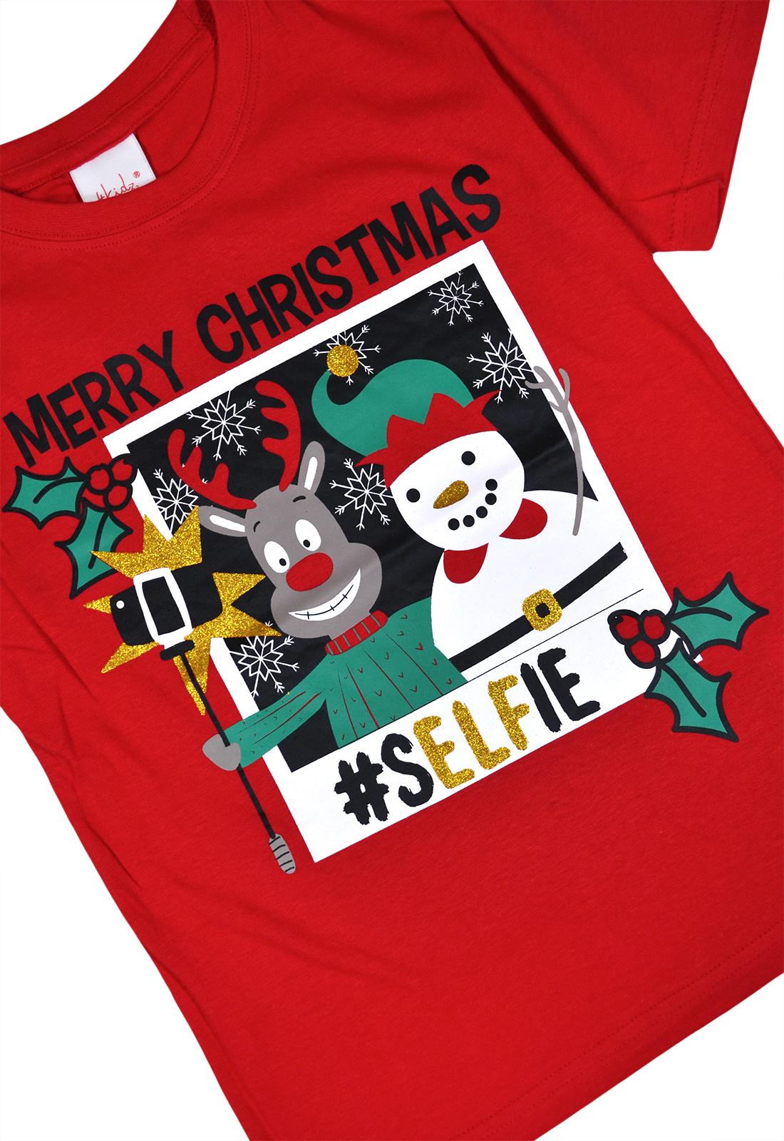Filles-Garcons-Noel-t-shirts-enfants-Noel-Top-Rouge-Bleu-Marine-Age-7-8-9-10-11-12-13-ans miniature 3
