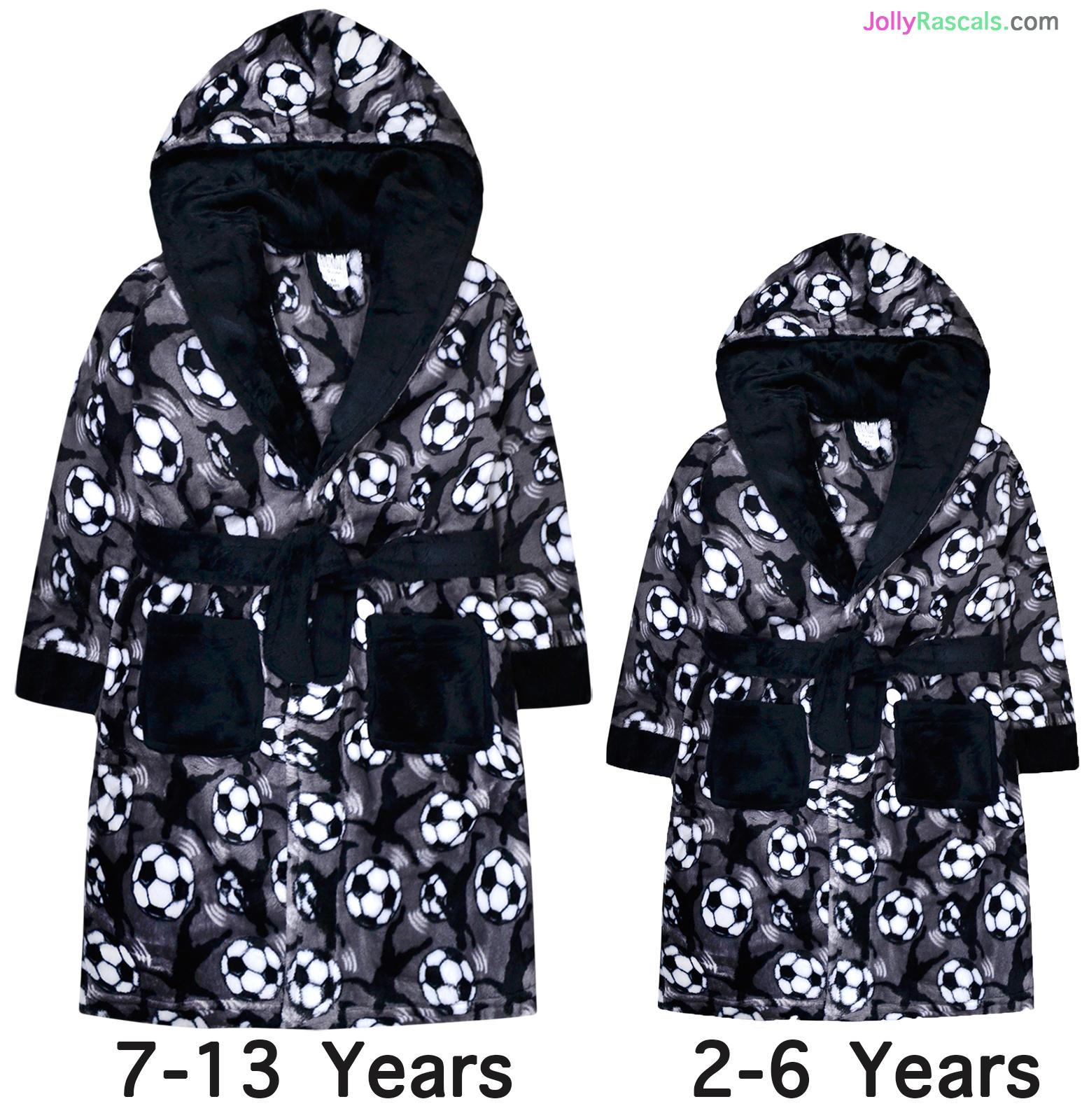 Boys Black Dressing Gown Soft Fleece Robe with Football Logo Age 2-3 NEW