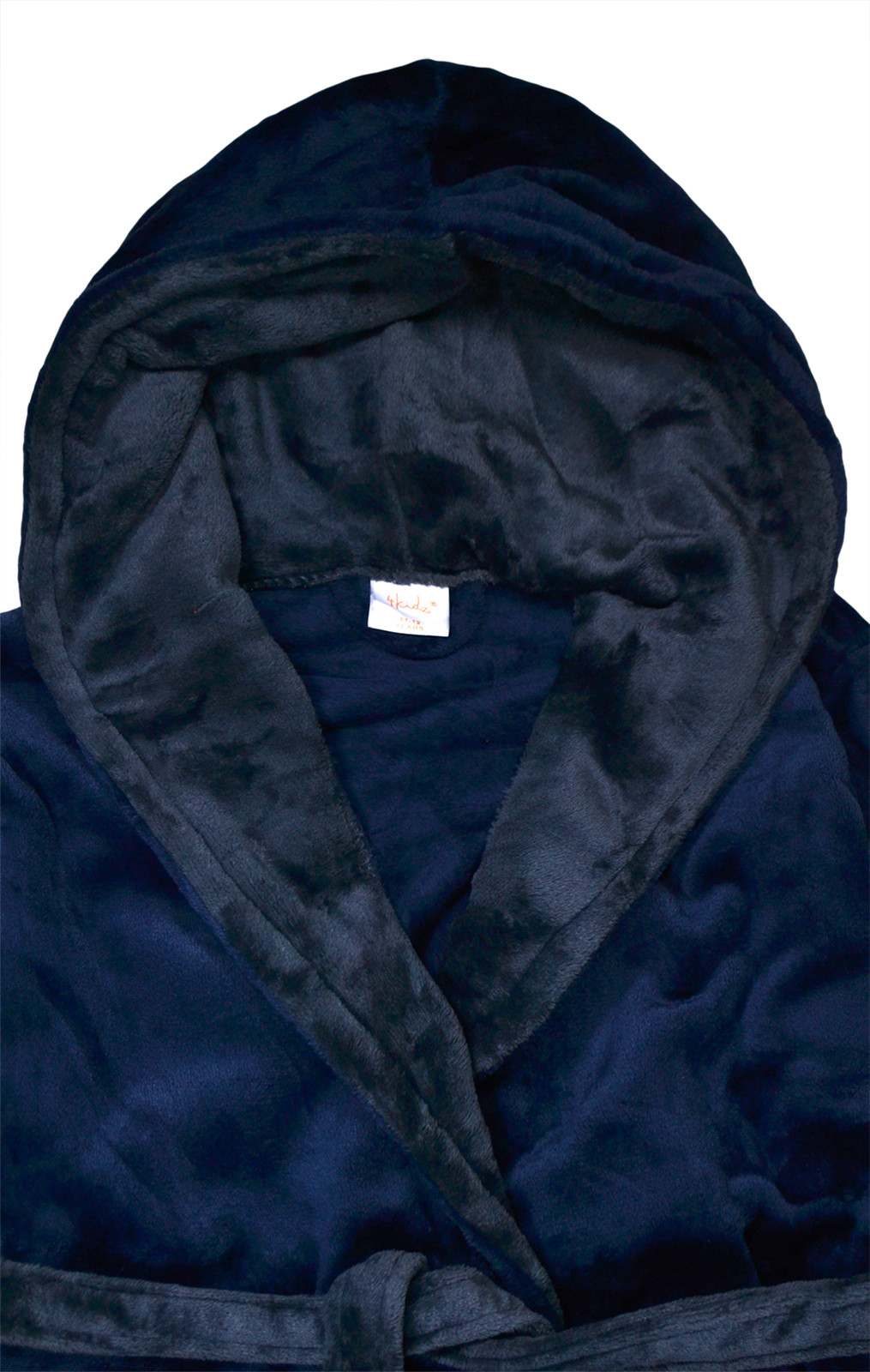 Boys-Dressing-Gown-New-Kids-Fleece-Hooded-Bath-Robe-Black-Navy-Ages-7-13-Years thumbnail 8