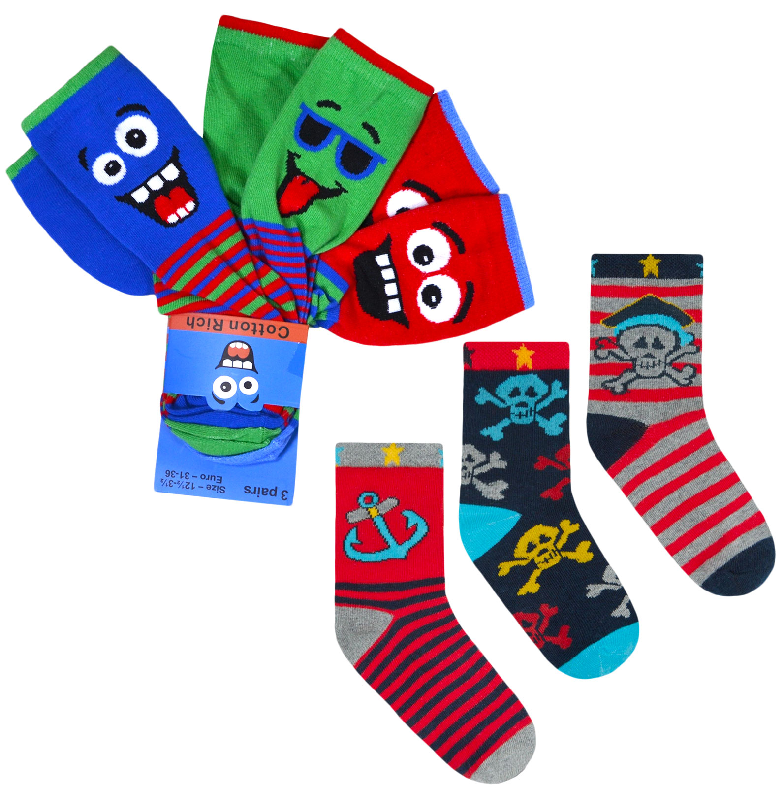 Boys Socks Football Character Socks Cotton Childrens Kids Designer 6 Pairs .
