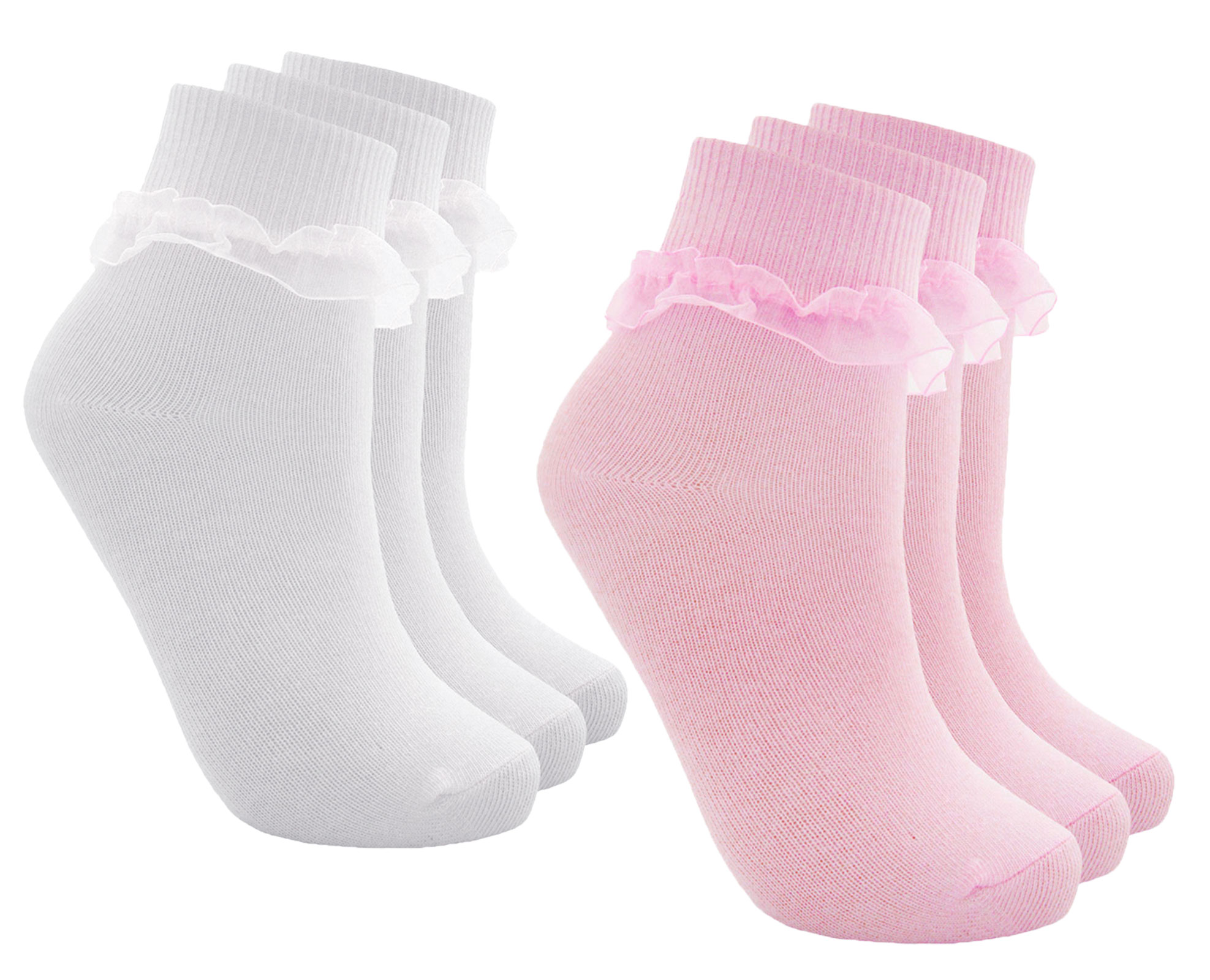 Girls Plain Lace Frilly Lace Ankle Everyday School Socks