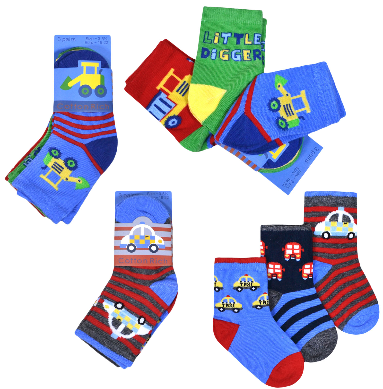 JollyRascals 5 Pairs Boys Socks New Kids Monday to Friday Socks Trainer Sports Cotton Rich 5 PACK Socks Black Red Green Blue Orange Yellow UK Sizes 6-8.5 9-12 12.5-3.5 and 4-6
