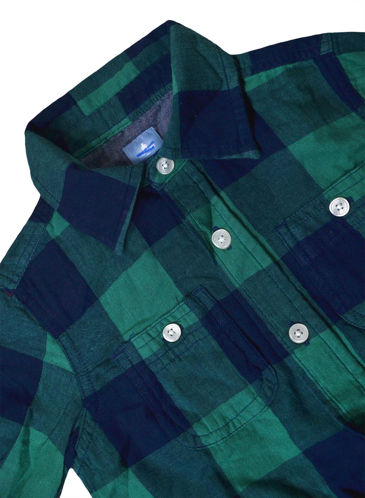 Boys-Ex-GAP-Shirt-Boy-Long-Sleeve-Cotton-Top-Green-Check-Ages-2-3-4-5-6-Years miniatura 4