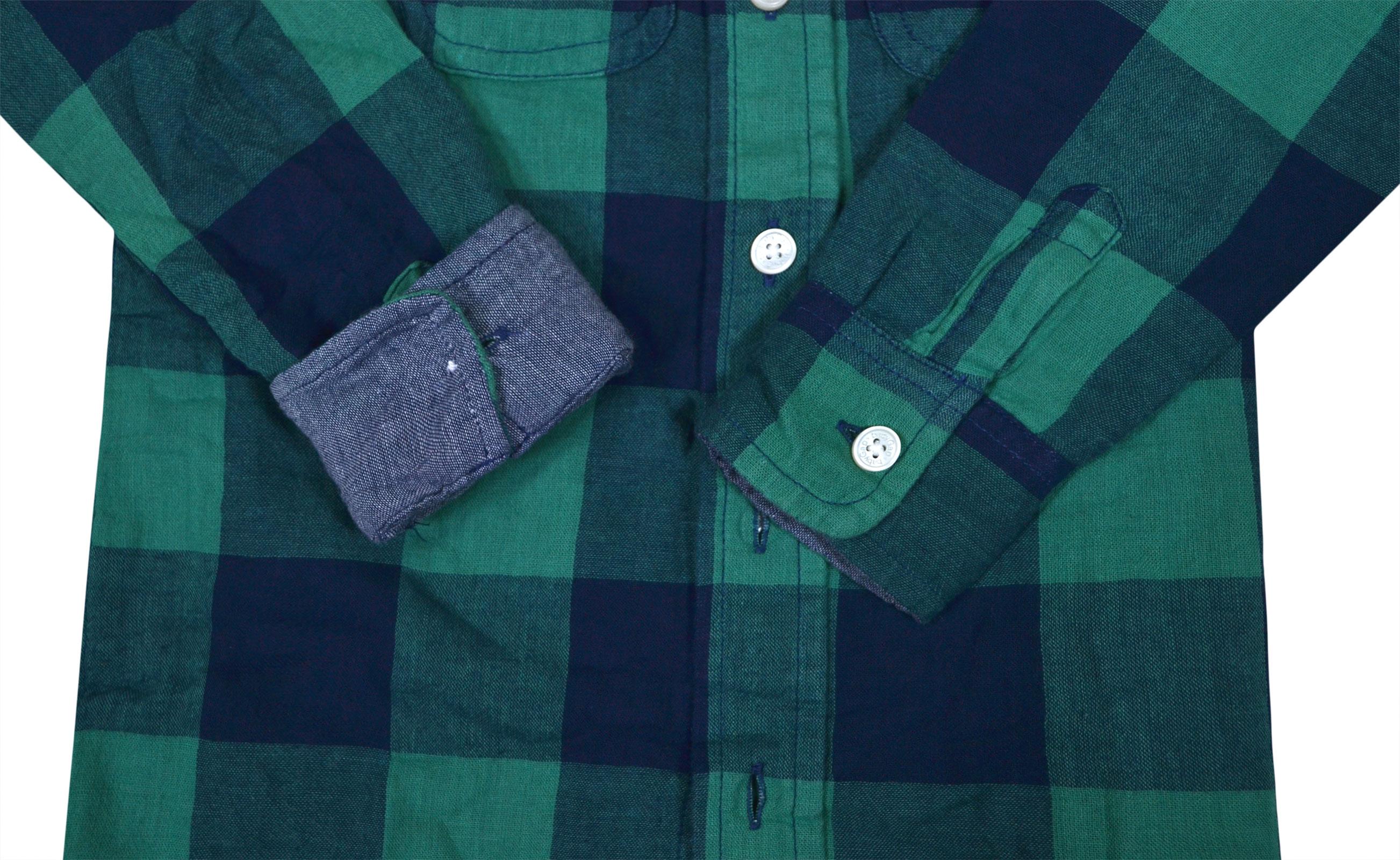 Boys-Ex-GAP-Shirt-Boy-Long-Sleeve-Cotton-Top-Green-Check-Ages-2-3-4-5-6-Years miniatura 5