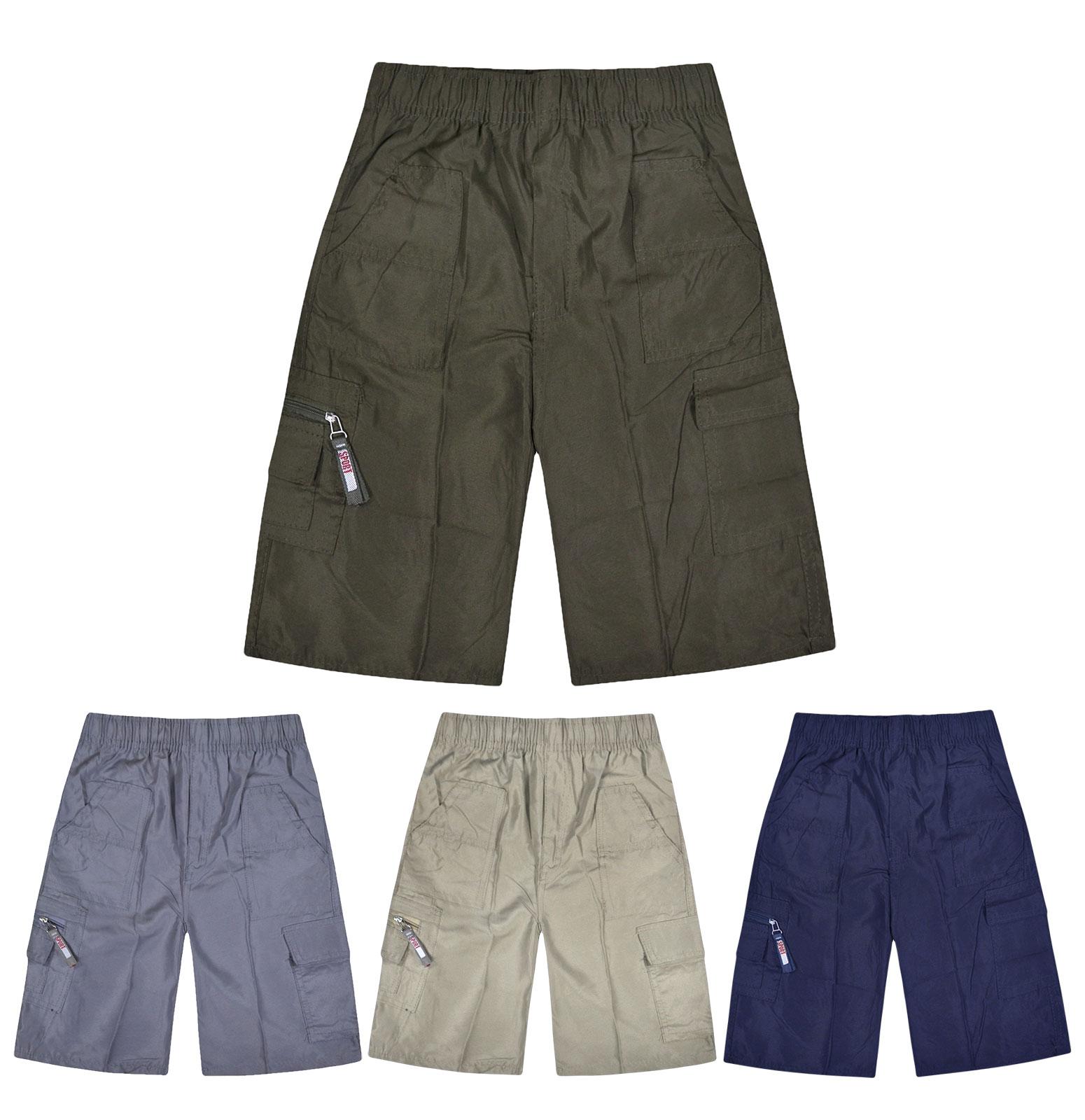 Boys Cotton Shorts Plain Coloured GOOD QUALITY Ages 3-14 Years Elastic Waist