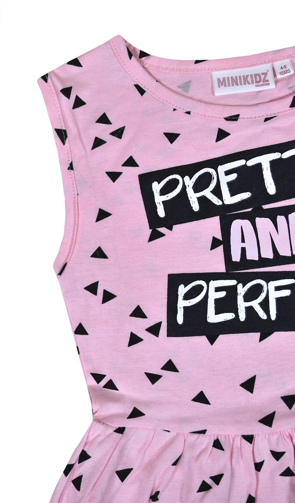 Girls-Summer-Dress-Kids-New-Skater-Dress-Cotton-Pink-Black-Age-2-3-4-5-6-7-8-Yrs thumbnail 4