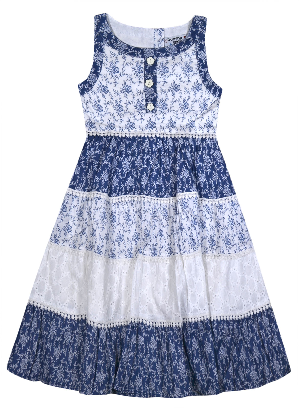 Girls Summer Dress 7% Cotton Sleeveless Floral Party Dresses Age