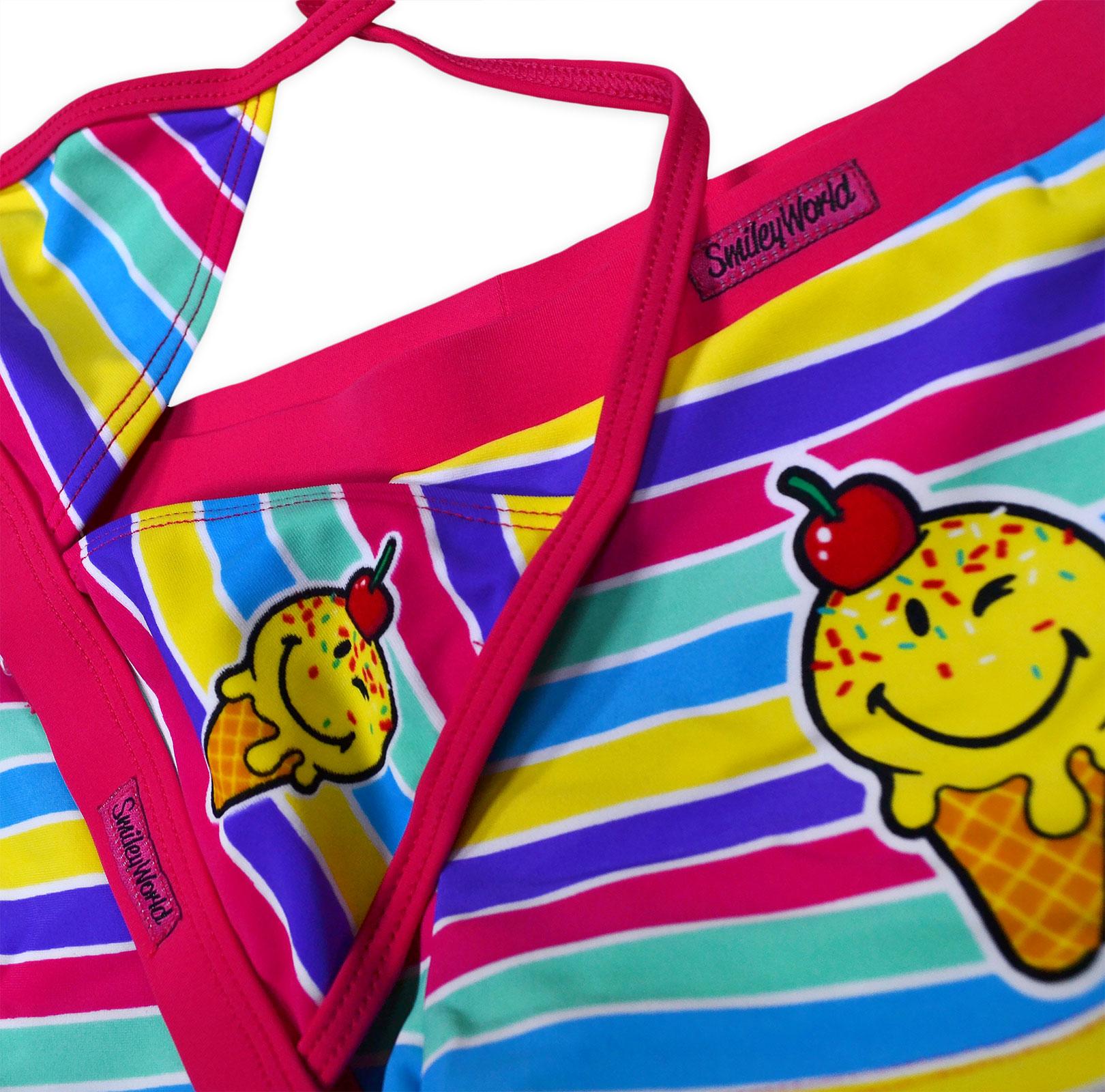 56b87f085bb42 Girls New Smiley World Bikini Swimming Costume Swimsuit Emoji ...