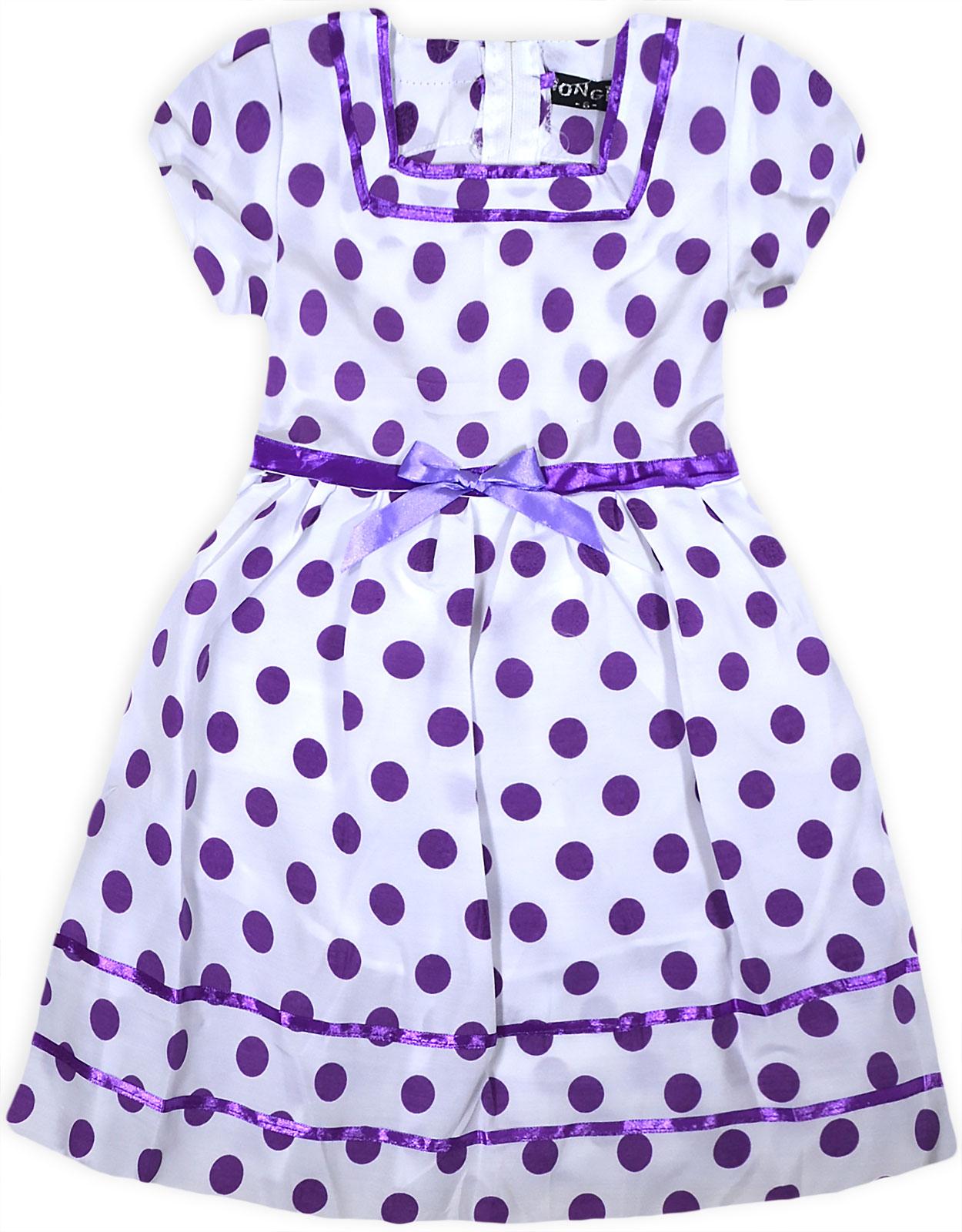 Girls New Polka Dot Dress Kids Princess Spot Short Sleeve Party ...