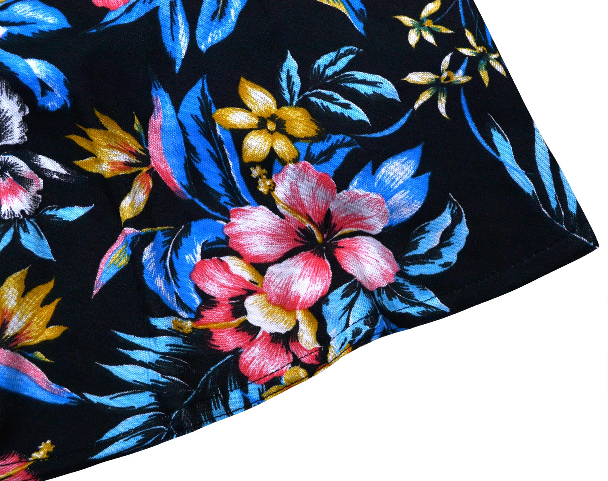 Girls-New-Floral-Skater-Dress-Kids-Summer-Party-Black-Dresses-7-8-9-10-11-12-13Y thumbnail 4