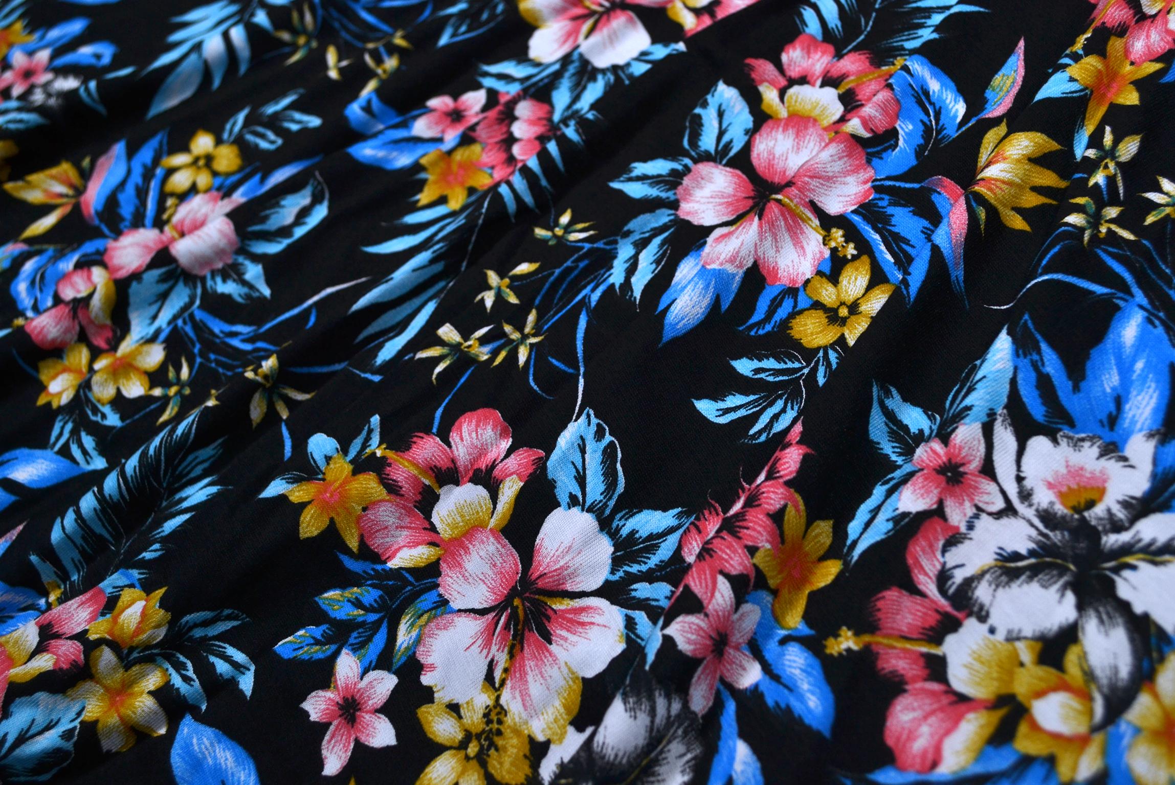 Girls-New-Floral-Skater-Dress-Kids-Summer-Party-Black-Dresses-7-8-9-10-11-12-13Y thumbnail 5