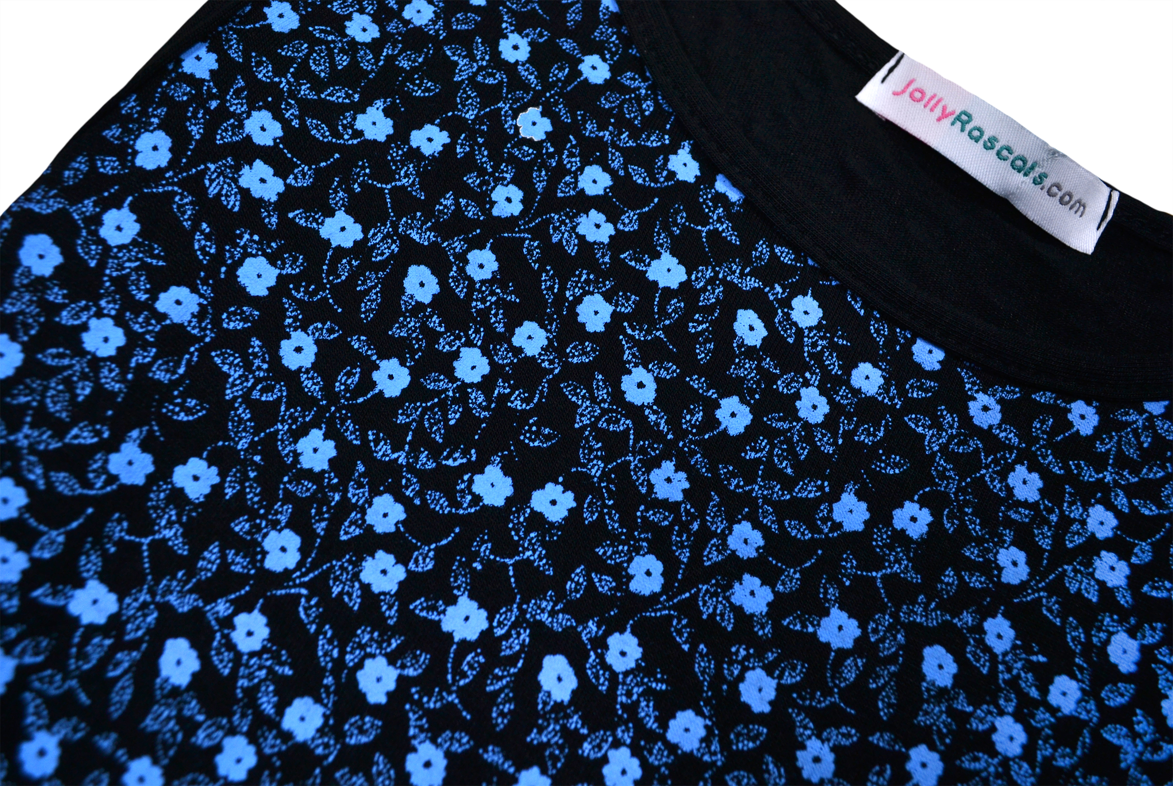 Girls-New-Ditsy-Floral-Skater-Dress-Kids-Party-Black-Dresses-7-8-9-10-11-12-13-Y thumbnail 4