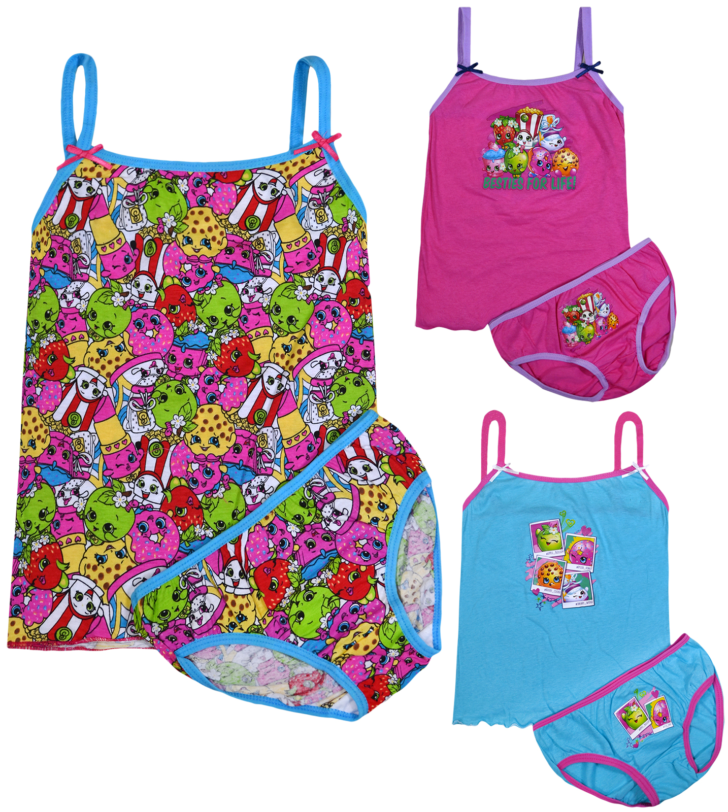 Shopkins Vest /& Brief 2 Piece Set Knickers Tank Top Underwear Girls 2-8 Years