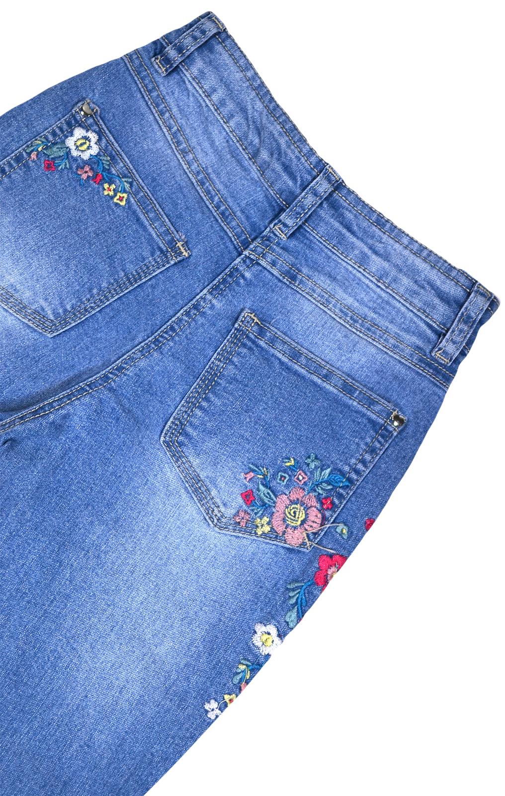 Girls-Floral-Denim-Jeans-Enfants-Neuf-Pantalon-Bleu-Age-4-5-6-7-8-9-10-11-12-13-14-ans