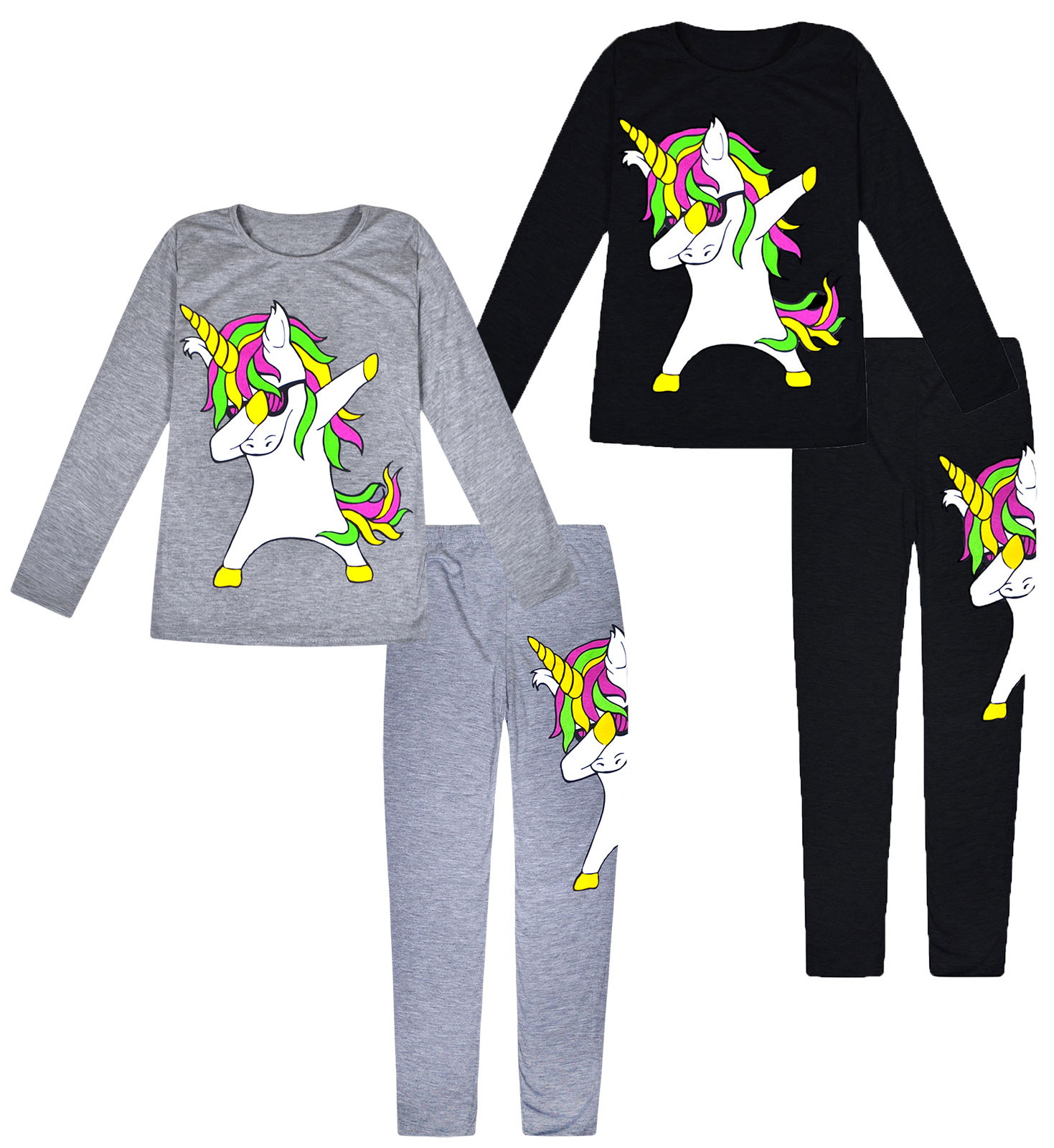 Girls Kids Unicorn Dab Floss Outfit Top /& Leggings Tracksuit Set Neon Age 5-13 Y