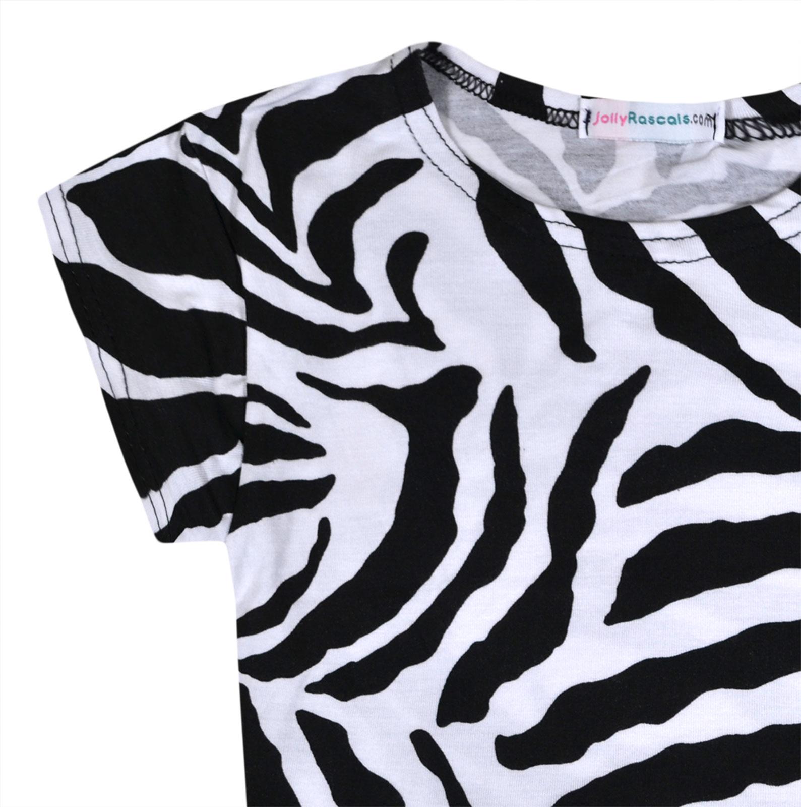 JollyRascals Girls Crop Top Short Sleeve T-Shirt Summer Top Leopard Aztec Zebra Print Kids New Tee Top Age 5 6 7 8 9 10 11 12 13 Years