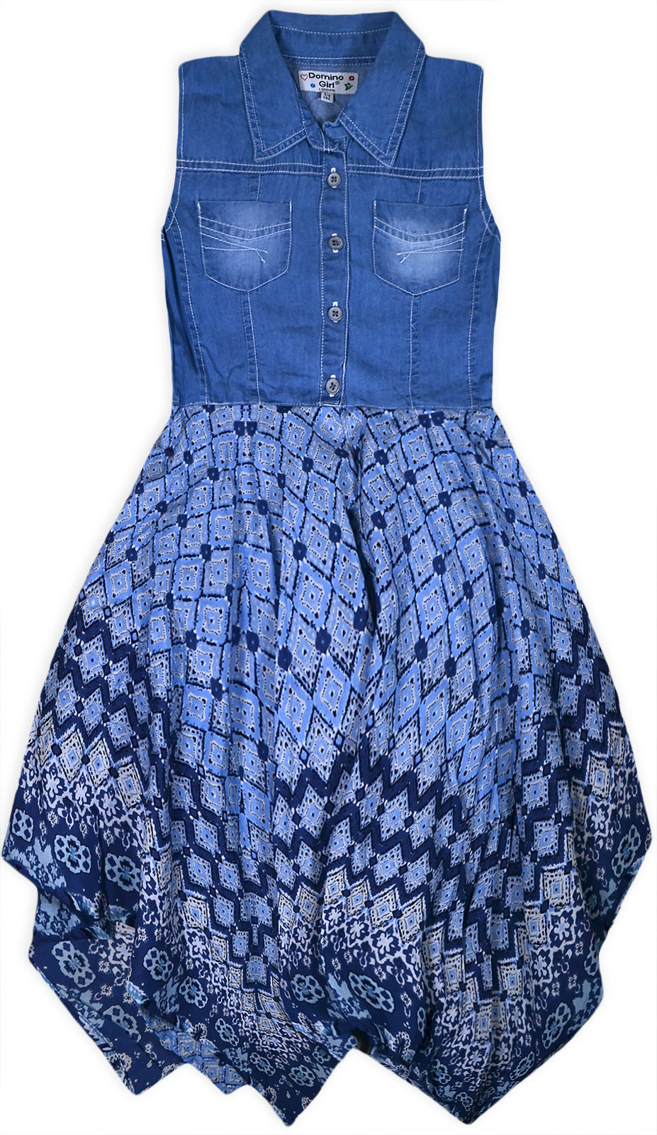 Girls Sleeveless Denim Dress New Kids Jeans Top Cotton Floral Party ...