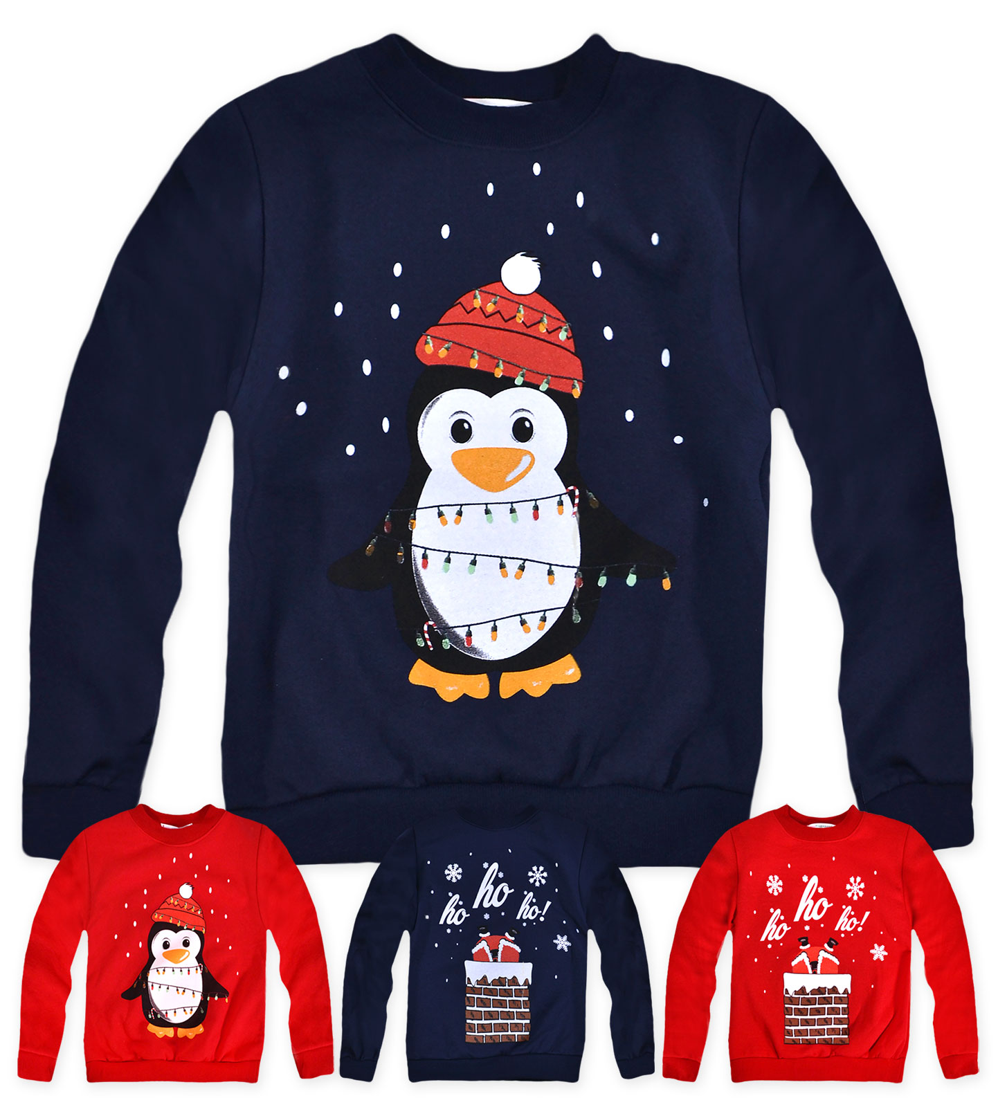 Boys Christmas Jumper Penguin Red Xmas Children Age 7 8 9 10 11 12 13 Years