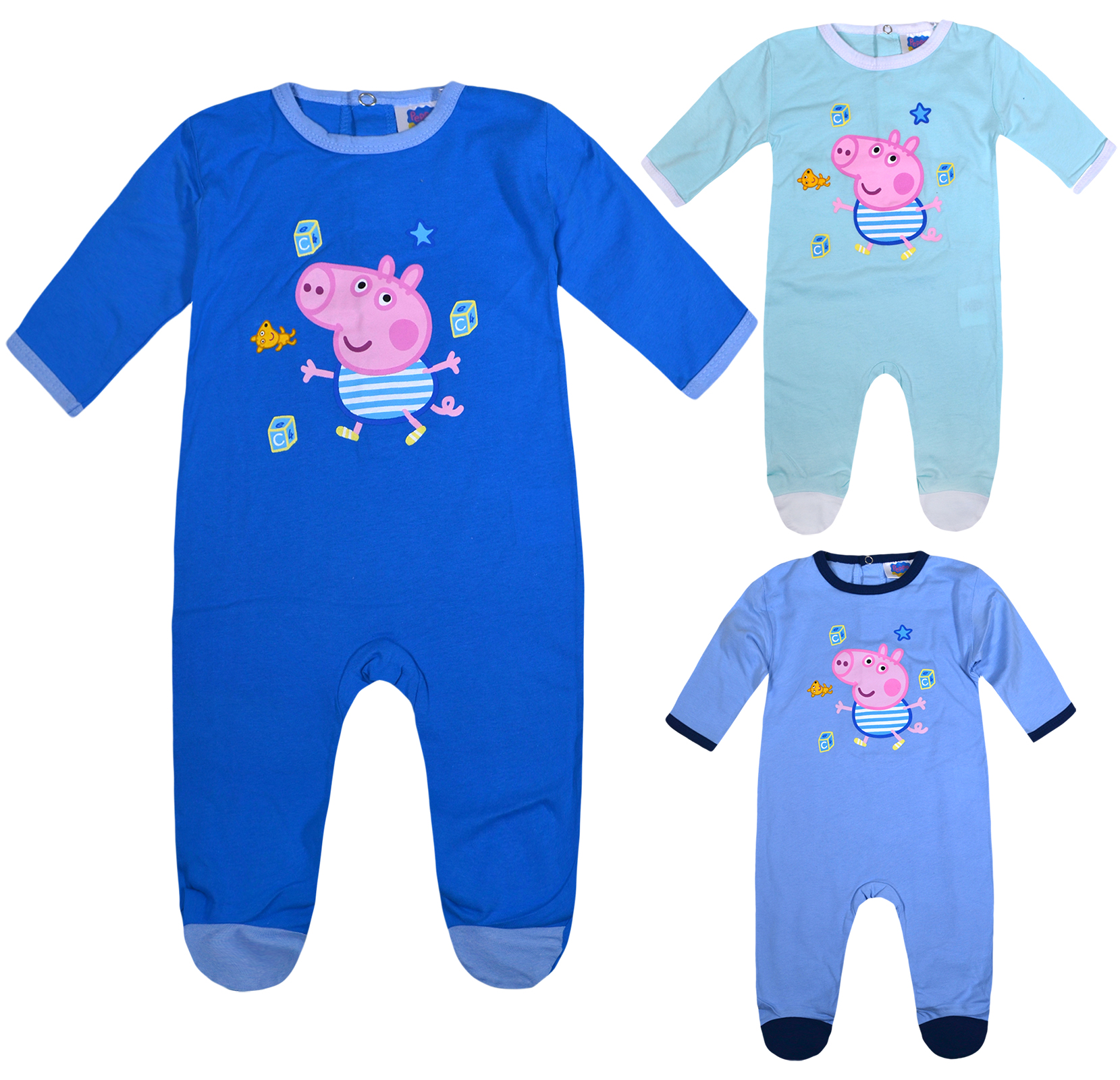 Peppa Pig Baby Boys George Pig All in One Cotton Romper Suit Sizes from 1 to 9 Months