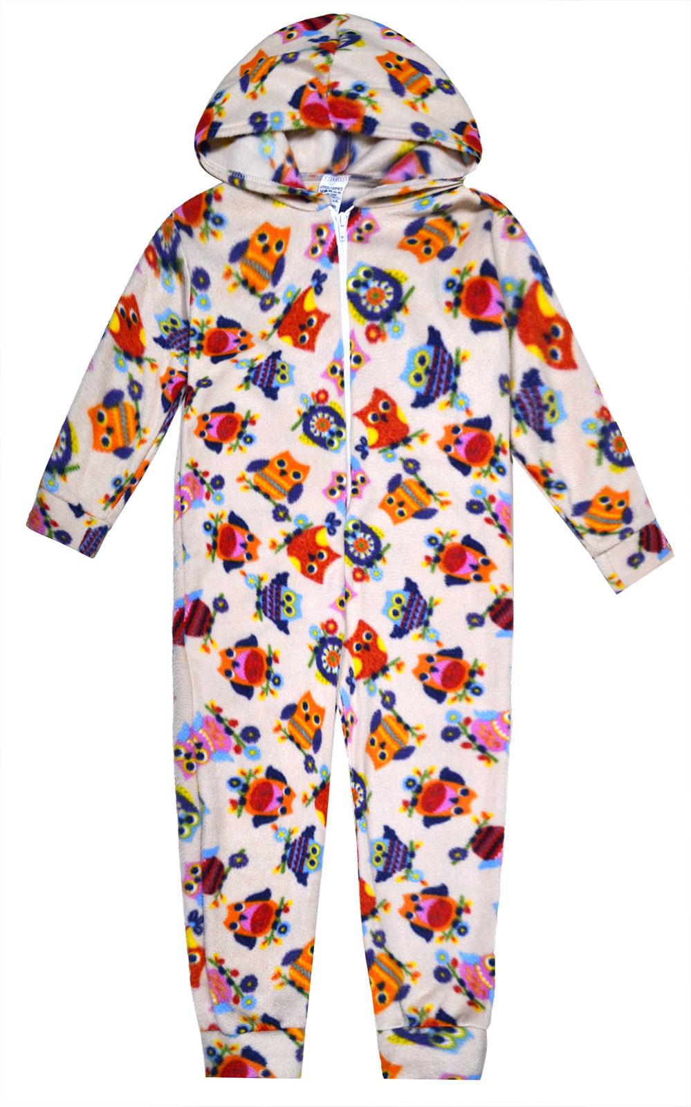 Girls 1Onesie1 Pyjama Owl Print Micro Fleece All In One Nightwear Ages 2-6 Years