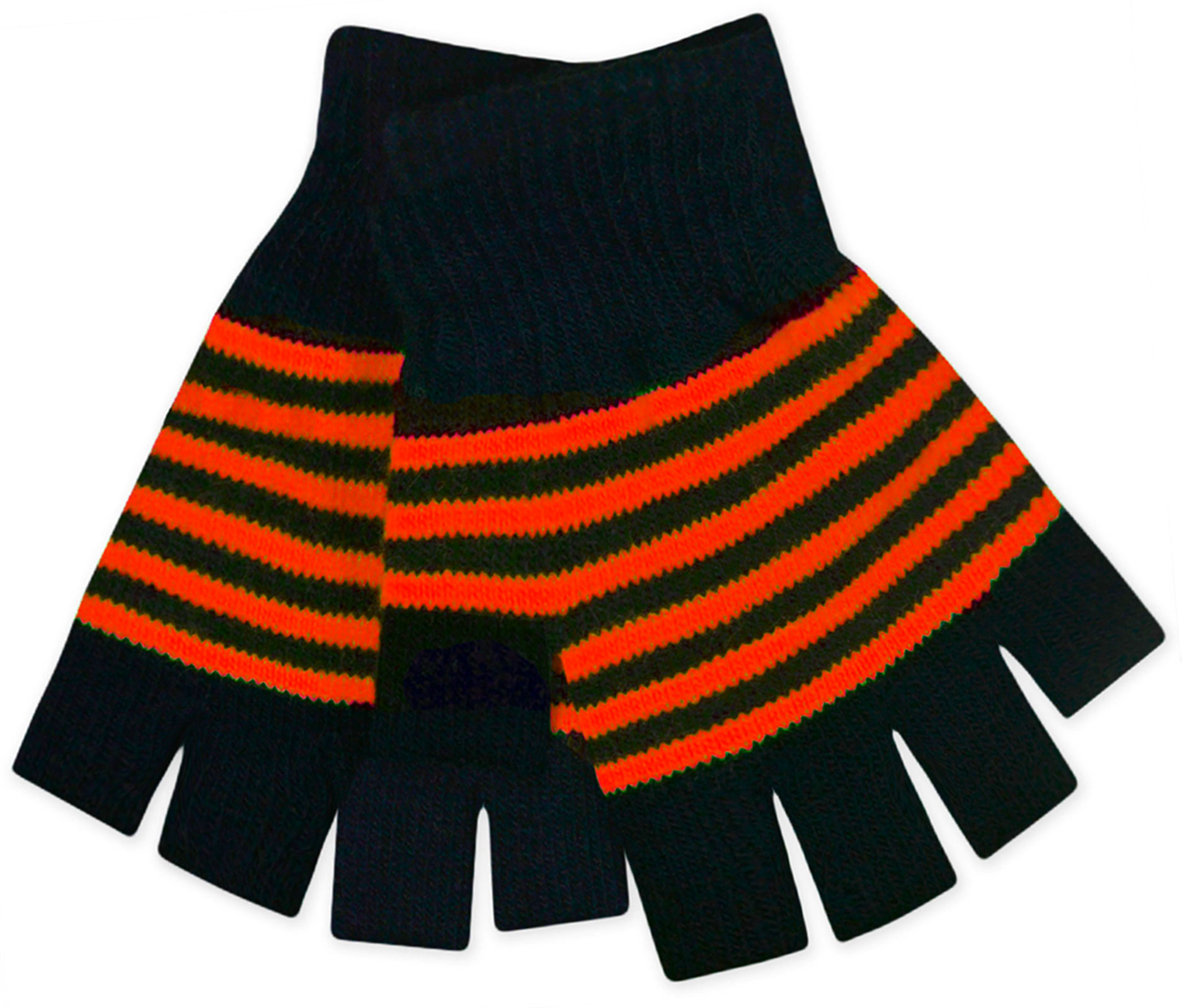 JollyRascals Kids 2 in 1 Magic Gloves Neon Stripe Boys Girls New Stretchy Winter 2 Pieces Set