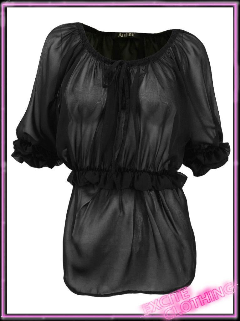 Ladies Gypsy Top New Womens Short Sleeved Chiffon Black Blouse Sizes UK 8-14
