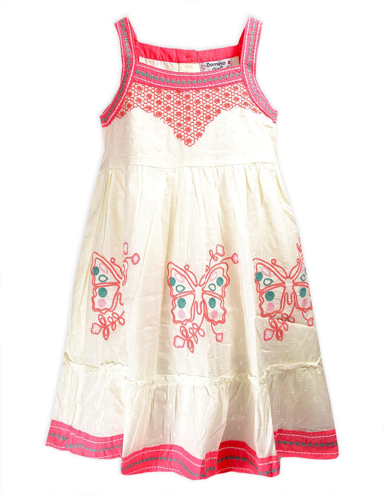 Girls Cotton Summer Pink Butterfly Dress Kids Sun Dresses ...