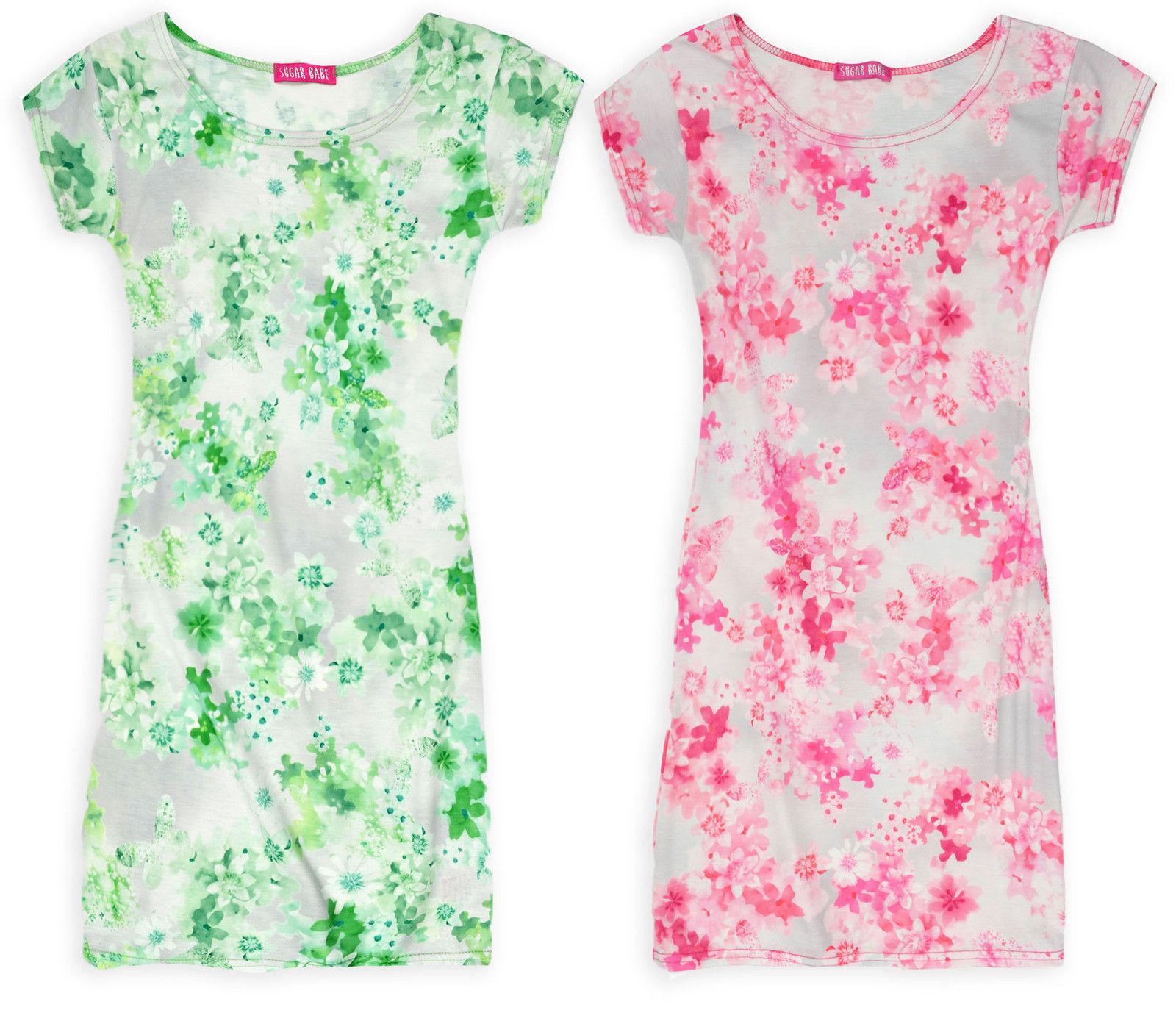 Girls Kids Children New Plain Top Print Midi Bodycon Dress Cap Sleeve Age 7-13 Y